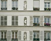 stock photo of neoclassical  - White neoclassical facade of a Paris downtown building - JPG
