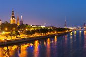 image of church  - Skyline of Riga seen across the river Daugava after the sunset - JPG