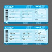 stock photo of boarding pass  - Vector Blue Modern Airline boarding pass tickets isolated on white - JPG
