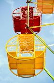 foto of carnival ride  - Close up of a carnival ride in the blue sky  - JPG