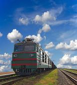 foto of loco  - Cargo trains with a blue sky background - JPG