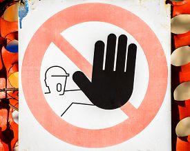 stock photo of no entry  - No entry sign this is italian sign No entry for people - JPG