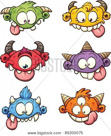 Colorful cartoon monster heads. Vector clip art illustration with simple gradients. Each on a separate layer.