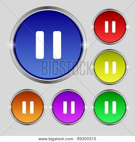 Pause Icon Sign. Round Symbol On Bright Colourful Buttons. Vector