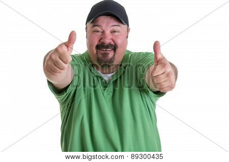 Man Giving Thumbs Up Hand Gesture