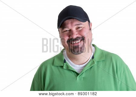 Portrait Of Smiling Man Wearing Green Shirt