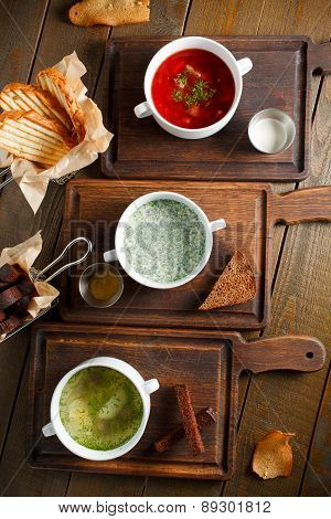 Three different traditional Ukrainian Russian cuisine