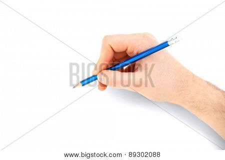 Male hand with pencil isolated on white