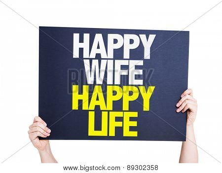 Happy Wife Happy Life card isolated on white