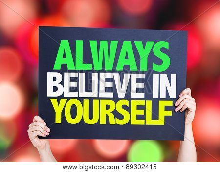 Always Believe in Yourself card with bokeh background
