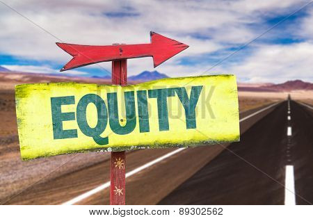 Equity sign with road background