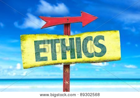 Ethics sign with beach background