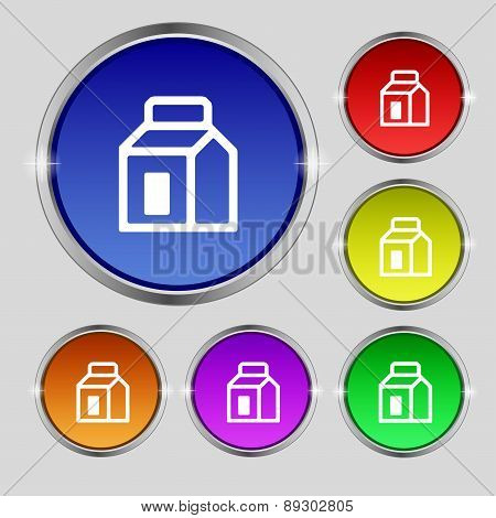 Milk, Juice, Beverages, Carton Package Icon Sign. Round Symbol On Bright Colourful Buttons. Vector