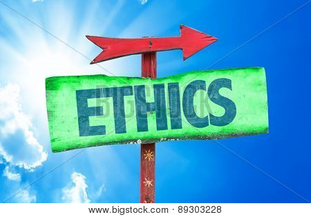 Ethics sign with sky background
