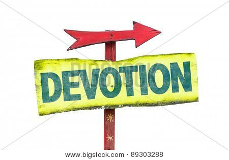 Devotion sign isolated on white