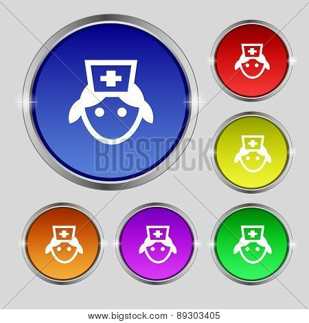 Nurse Icon Sign. Round Symbol On Bright Colourful Buttons. Vector