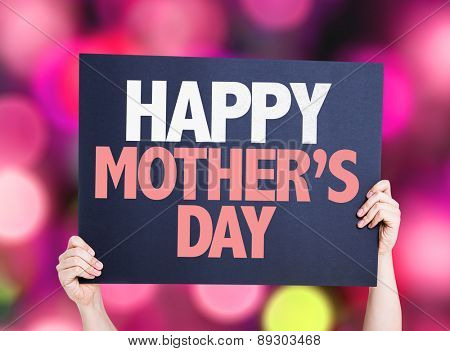Happy Mothers Day card with bokeh background