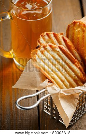 Toasted slices of bread with a golden crust