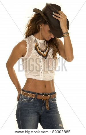Cowgirl In White Top With Hat Hand On It