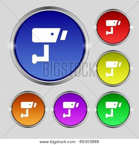 Surveillance Camera Icon Sign. Round Symbol On Bright Colourful Buttons. Vector