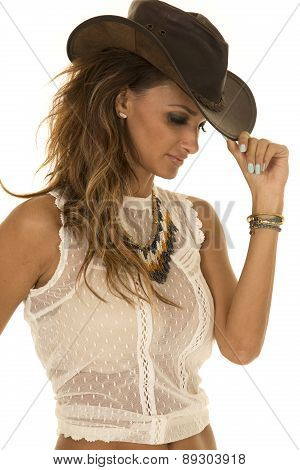 Cowgirl In White Top With Hat Touch Brim