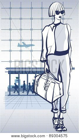 Young woman in an airport holding a travel bag - vector illustration