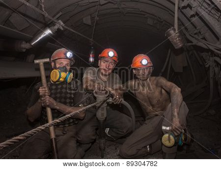 Donetsk, Ukraine - March, 14, 2014: The Miners Working Underground In The Mine Named Abakumov