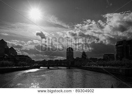 Dublin Skyline (black And White)