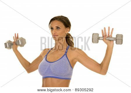Woman In Blue Fitness Outfit Weights In Hands Up