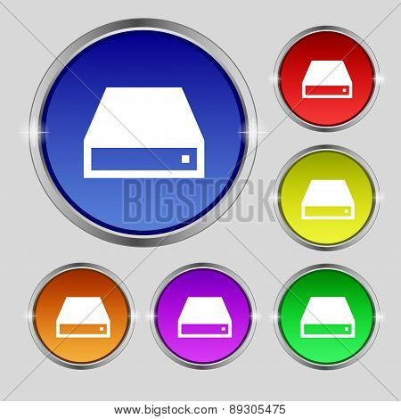Cd-rom Icon Sign. Round Symbol On Bright Colourful Buttons. Vector