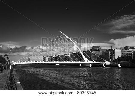 Samuel Beckett Bridge, Dublin (black And White)