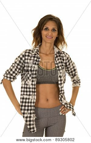 Woman With Checkered Shirt Over Fitness Outfit