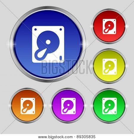 Hard Disk And Database Icon Sign. Round Symbol On Bright Colourful Buttons. Vector