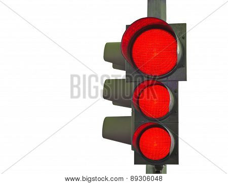 Traffic Light With Three Red Lights On White