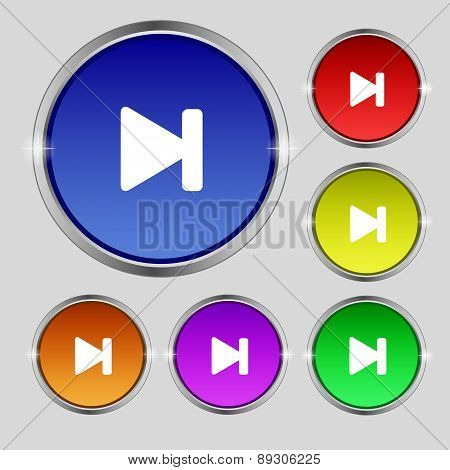 Next Track Icon Sign. Round Symbol On Bright Colourful Buttons. Vector