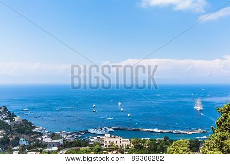 View Of Mediterranean Sea On Capri Island
