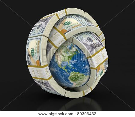 Pile of Dollars and globe (clipping path included)