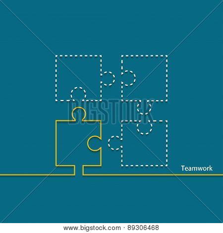 Vector modern teamwork background. Puzzle icons.
