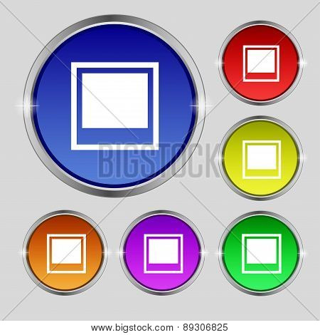 Photo Frame Template Icon Sign. Round Symbol On Bright Colourful Buttons. Vector