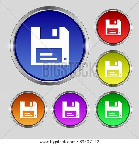 Floppy Icon Sign. Round Symbol On Bright Colourful Buttons. Vector