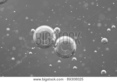 Macro Oxygen Bubbles In Water On Black White Background