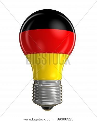 Light bulb with German flag (clipping path included)