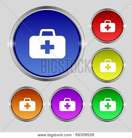Medicine Chest Icon Sign. Round Symbol On Bright Colourful Buttons. Vector