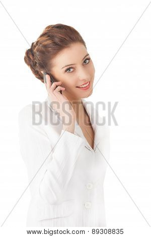 Beautiful Woman Using A Mobile Phone.