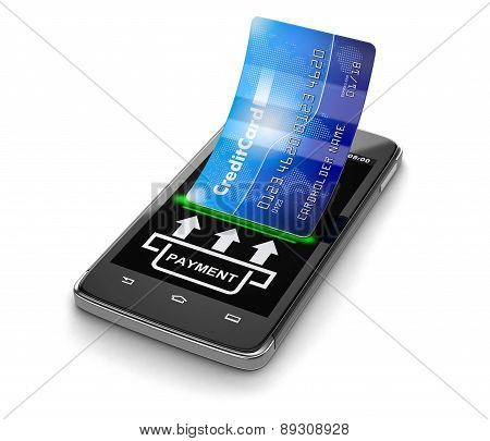 Touchscreen smartphone with credit card (clipping path included)