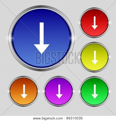 Arrow Down, Download, Load, Backup Icon Sign. Round Symbol On Bright Colourful Buttons. Vector