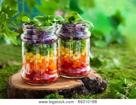 Vegetarian Rainbow salad in a glass jar for summer picnic