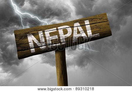 Nepal wooden sign on a bad day