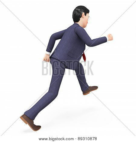 Businessman Walks Quickly Represents Fast Track And Action