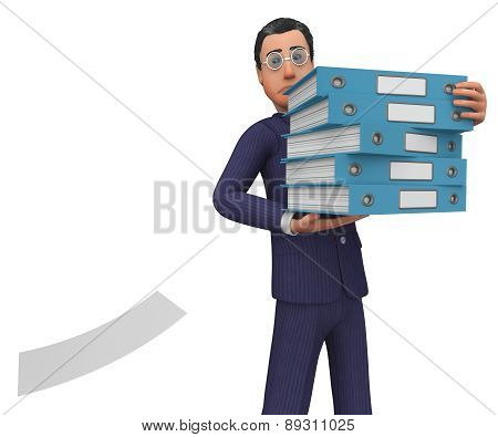 Businessman With Files Shows Answer Businessmen And Corporation